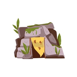 Primitive neanderthal people cave with animal skin on entrance, flat cartoon vector illustration isolated on white background. Stone age cave people dwelling.