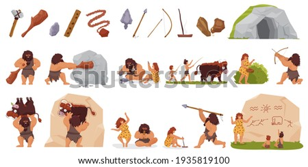 Primitive people hunt vector illustration set. Cartoon primeval wild caveman character hunting with stick club bow spear, woman cooking food, prehistoric stone age life scenes isolated on white