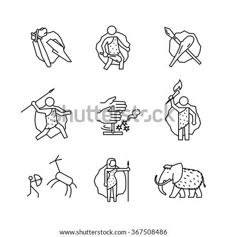 Primitive prehistoric caveman of ice age signs set. Thin line art icons. Linear style illustrations isolated on white.