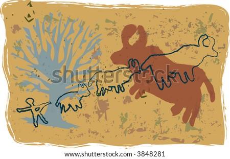 Primitive, rock-art style vector illustration of ox hunt.