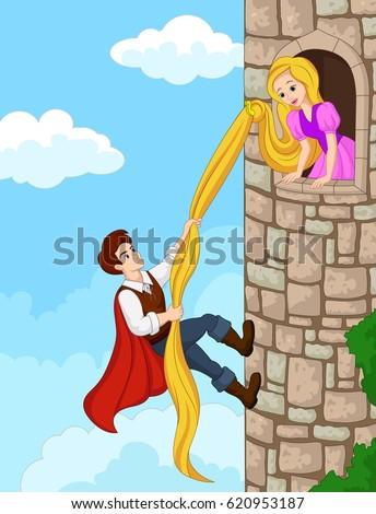 Prince climbing tower using long hair