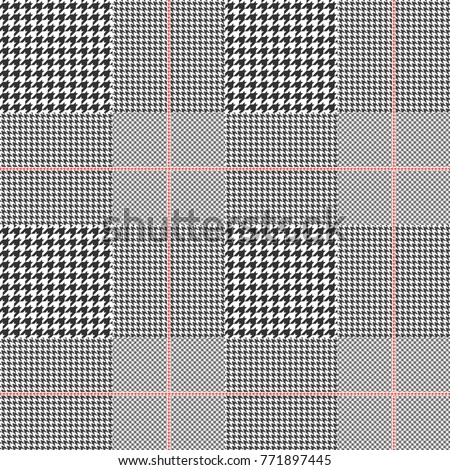 Prince of Wales check in black and white with red overcheck. Glen plaid. Seamless pattern.