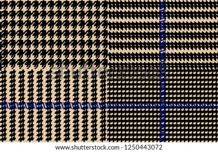 Prince of Wales / glen plaid patten in classic black and white with blue overcheck #1250443072
