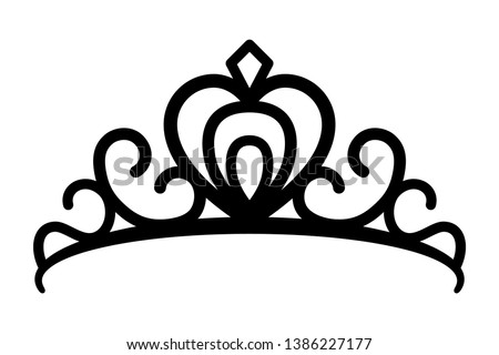 Princes tiara crown or royal diadem line art vector icon for apps and websites Сток-фото ©