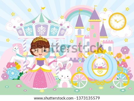 Princess and Carousel Party Backdrop. Baby Shower Party Backdrop. Poster