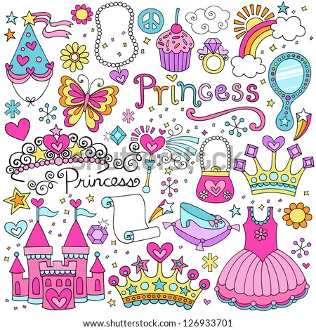 Princess Ballerina Tiara Groovy Fairy Tale Notebook Doodles Set with Tutu Dress Crown Magic Wand and more