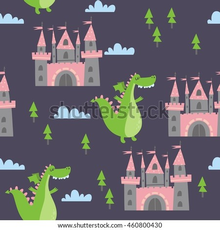 princess castle and dragon print