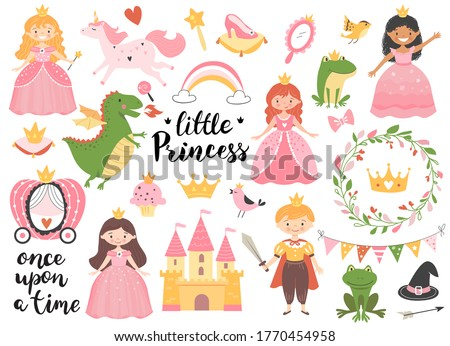 Princess collection with golden crown, castle, dragon and frog. Hand drawn childish illustration. Сток-фото ©