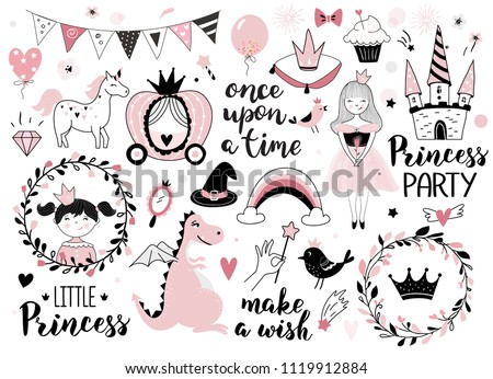 Princess design elements - calligraphy, fantasy icons, wreaths, crowns, castle,  and other. Perfect for invitation, greeting card, kids and baby t-shirts and wear, nursery poster, stiker kit