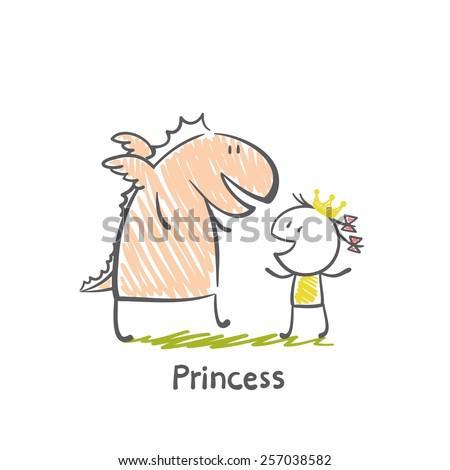 Stock Photo princess dragon illustration
