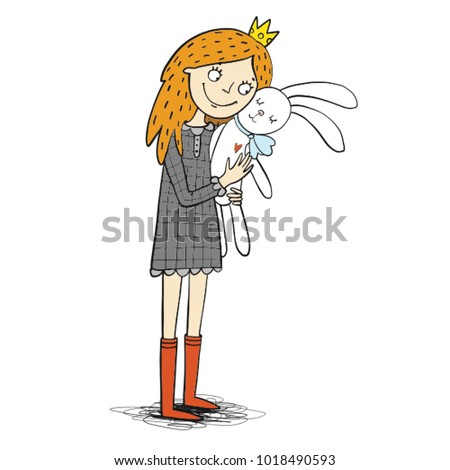 princess girl with white rabbit