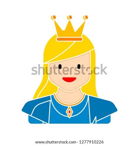 princess icon - princess isolate, fairytale queen illustration - Vector princess