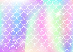 Princess mermaid background with kawaii rainbow scales pattern. Fish tail banner with magic sparkles and stars. Sea fantasy invitation for girlie party. Stylish princess mermaid backdrop.