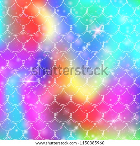 Stock Photo Princess mermaid background with kawaii rainbow scales pattern. Fish tail banner with magic sparkles and stars. Sea fantasy invitation for girlie party. Pearlescent princess mermaid backdrop.