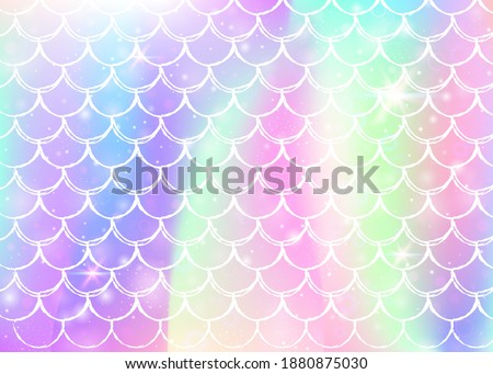 Princess mermaid background with kawaii rainbow scales pattern. Fish tail banner with magic sparkles and stars. Sea fantasy invitation for girlie party. Stylish princess mermaid backdrop. Stock photo ©