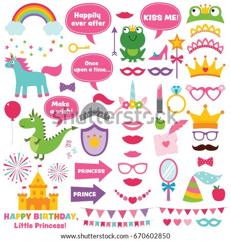 Princess party design elements and photo booth props set