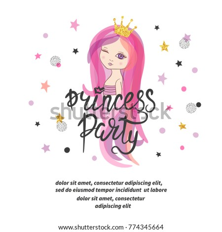 Princess party poster or invitation template. Vector Birthday card ...