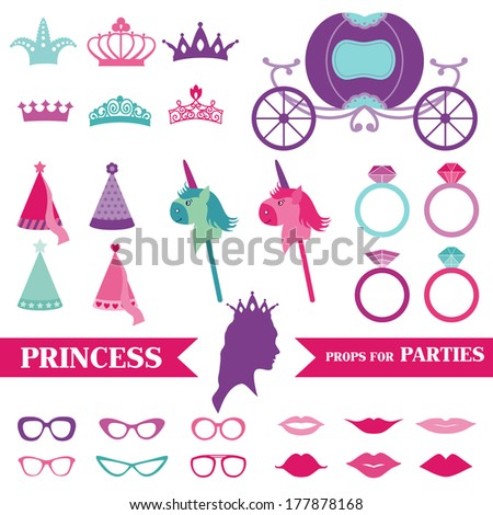 Princess Party set - photobooth props - crown, rings, glasses - in vector