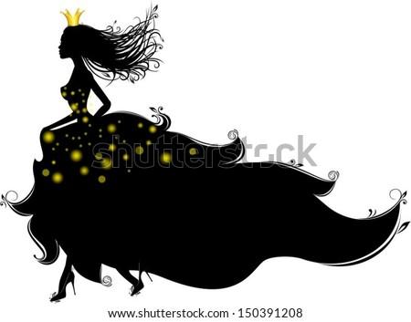 princess runs  vector characters