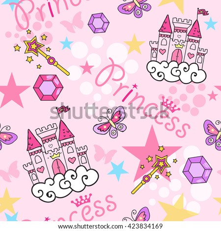 princess seamless pattern for