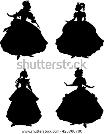 princess silhouettes   vector