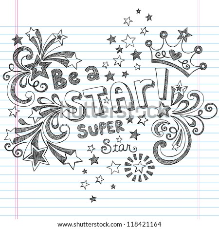 Princess Tiara Crown Vector- Be A Star Back to School Sketchy Notebook Doodles- Vector Illustration Design Elements on Lined Sketchbook Paper Background