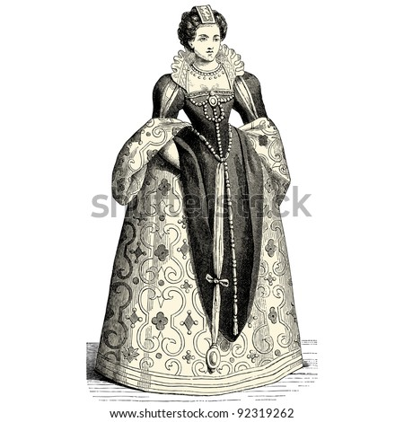 "Princess - vintage engraved illustration - ""Costumes anciens et modernes "" by Cesare Veccello ed.Firmin-Didot  in 1859 - Paris"