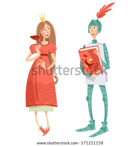 princess with a rose and knight