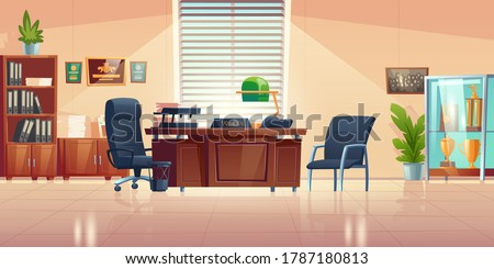 Principals office in school with desk, chairs, bookcase and showcase with sport trophies. Vector cartoon empty interior of headmaster cabinet for meeting and talking with teachers, pupils and parents ストックフォト ©