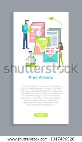 Print adverts website, people reading papers with news. Screen of web page with publication, man and woman holding newspaper, special offer magazine vector