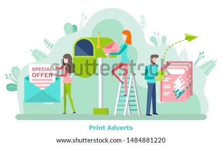Print adverts, woman holding promotion letter of special offer, man with paper. Post box and cover, people characters on stairs with newsletter or document. Vector illustration in flat cartoon style
