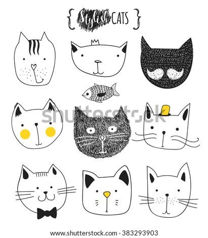 print cat set of cute doodle