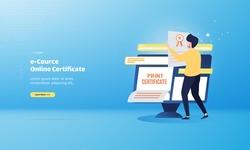 Print certificate e-course, illustration for online education concept