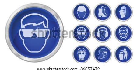 Print Construction health and safety buttons isolated on white background