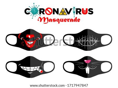 Print design concept on reusable face protection masks. Entertainment during coronavirus quarantine. Funny cartoon faces - sewn mouth, fanged mouth, cigar in the mouth, mask of rabbit. Vector