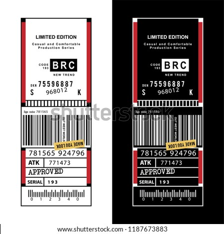 print design inventory label for t-shirt, tee graphic design.