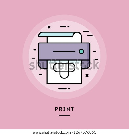 Print, flat design thin line banner, usage for e-mail newsletters, web banners, headers, blog posts, print and more. Vector illustration.