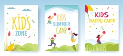 Print Flyer, Media Cards or Social Stories Set Advertising Kids Camp. Cartoon Happy Children Having Fun, Resting and Enjoying Summer Vacation on Nature. Mobile Page and Ad Cover. Flat Illustration