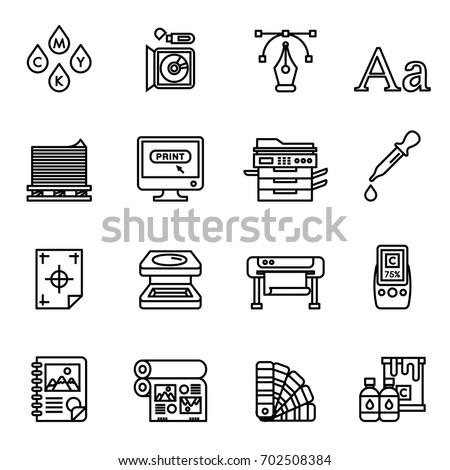 Print icons set elegant series. Line Style stock vector.