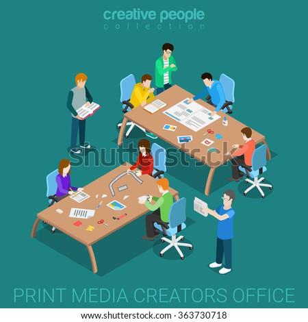 print media creators team work