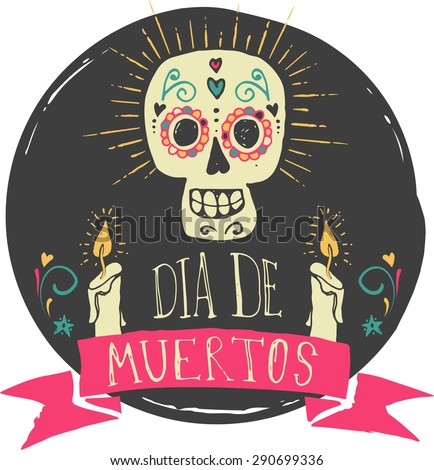 Shutterstock print - mexican sugar skull, day of the dead poster