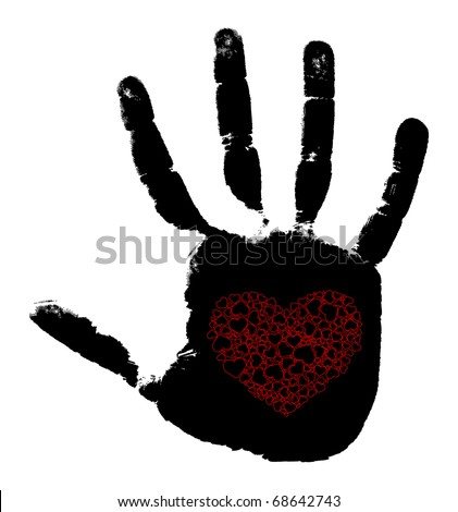 Print of a hand with heart. Vector illustration