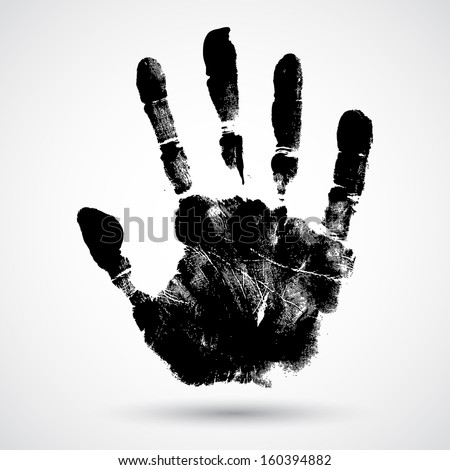 print of hand of child  cute
