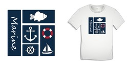 Print on t-shirt graphics design, nautical icons collections anchor, fish carp, sailing boat, rudder, lifebuoy, isolated on white background vector