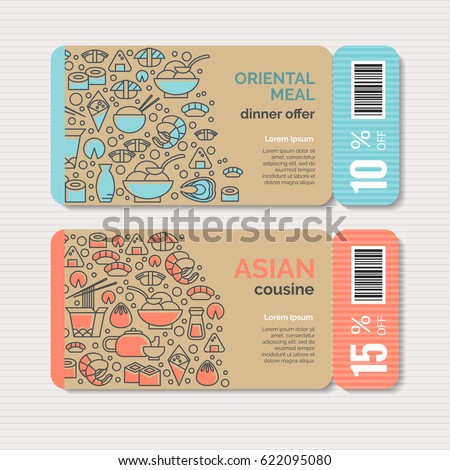 Print or web banners design template for chinese, japanese, asian cuisine, cafe and food delivery. Clean, minimalistic concept. Trendy line style vector illustration. Ideal for business layout. Stock photo ©