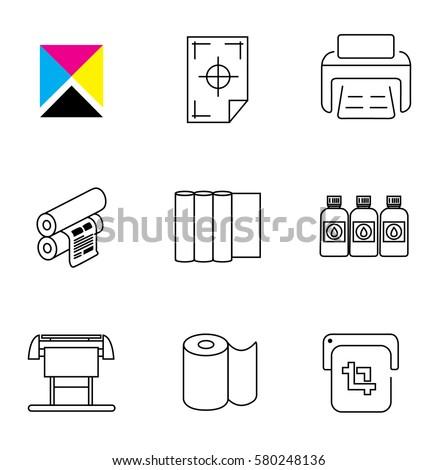 Print Shop and Digital Printing Icon Set