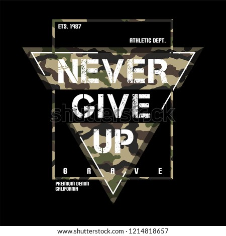 Print vector design with camouflage texture. Military typography slogan college with army badge