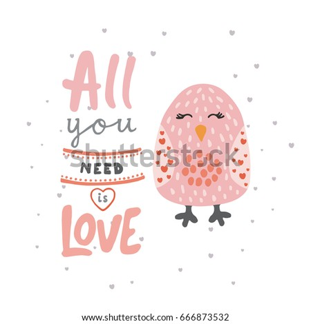 print with cute bird and phrase
