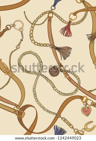 Print with gold chains and belts. Vector seamless pattern.
