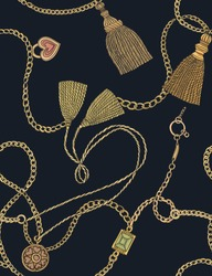 Print with gold chains and tassels. Vector seamless pattern. Fabric design.